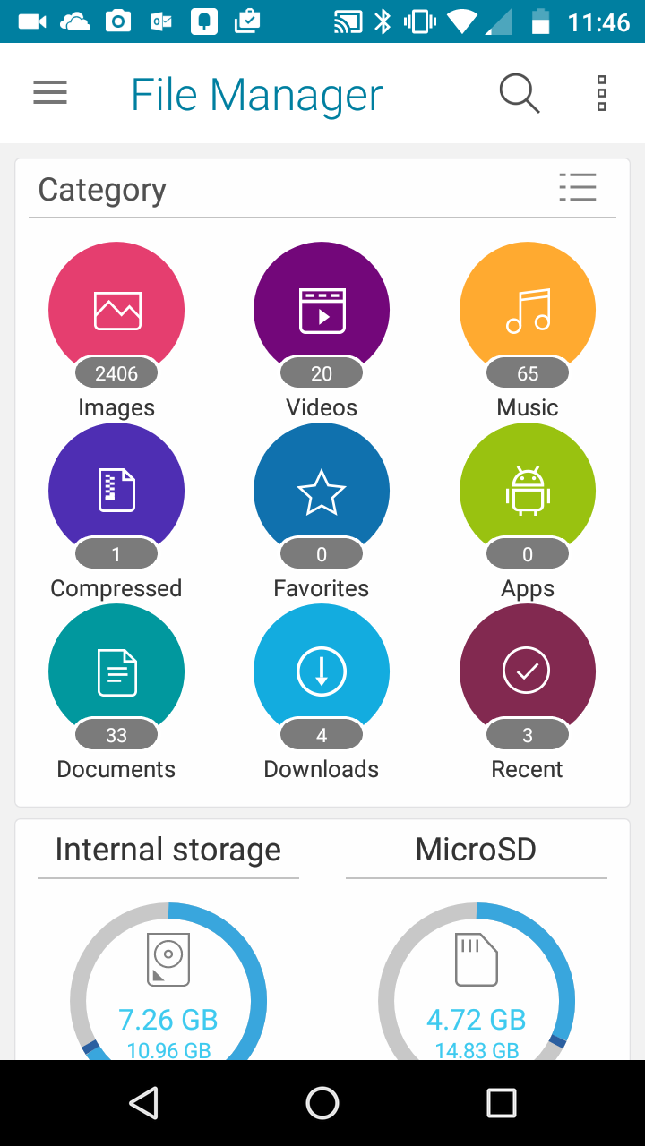 Asus File Manager Home Screen